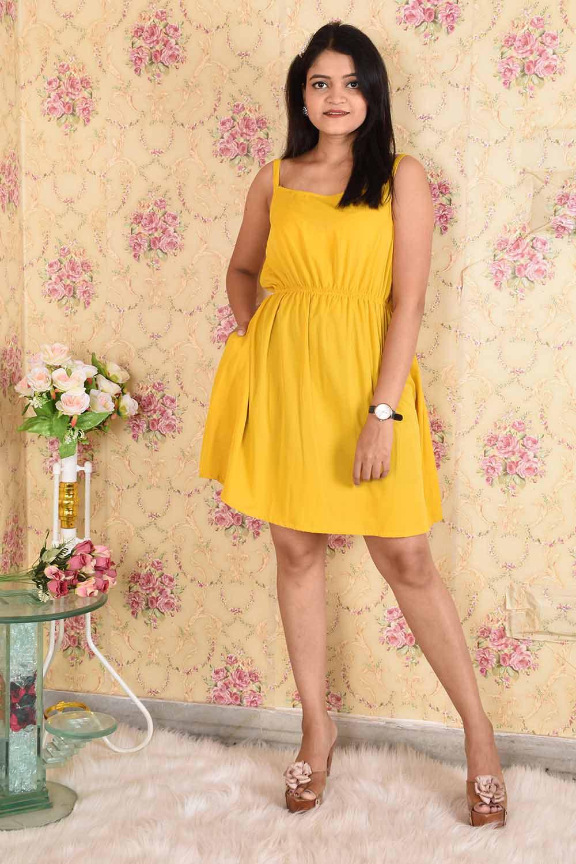 Mustard Solid Dress