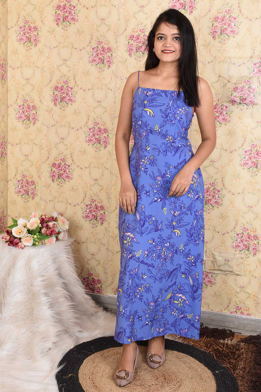Blue Printed Crepe Maxi Dress