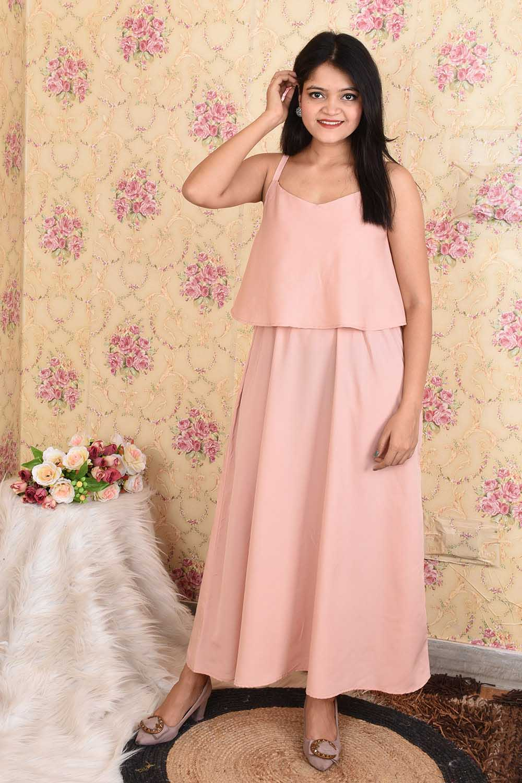 Solid Light Peach Maxi Dress