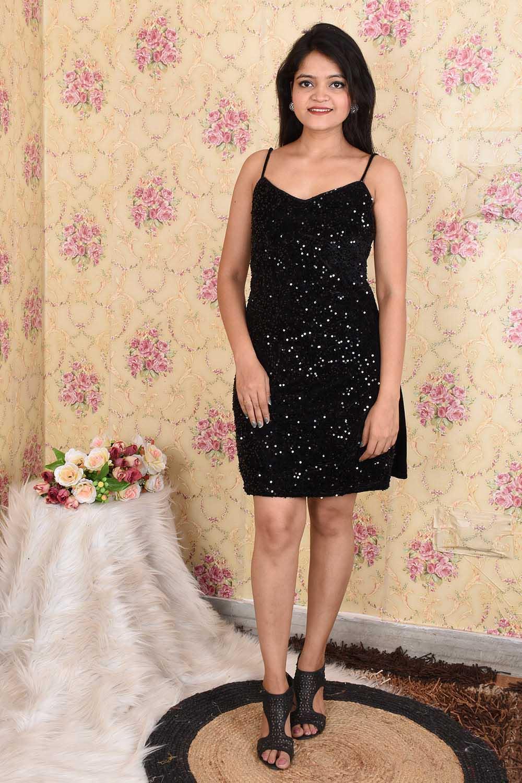 Black Heavy Sequins on Velvet Short Dress