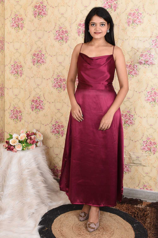 Vine Satin cowl Neck Party Wear Dress