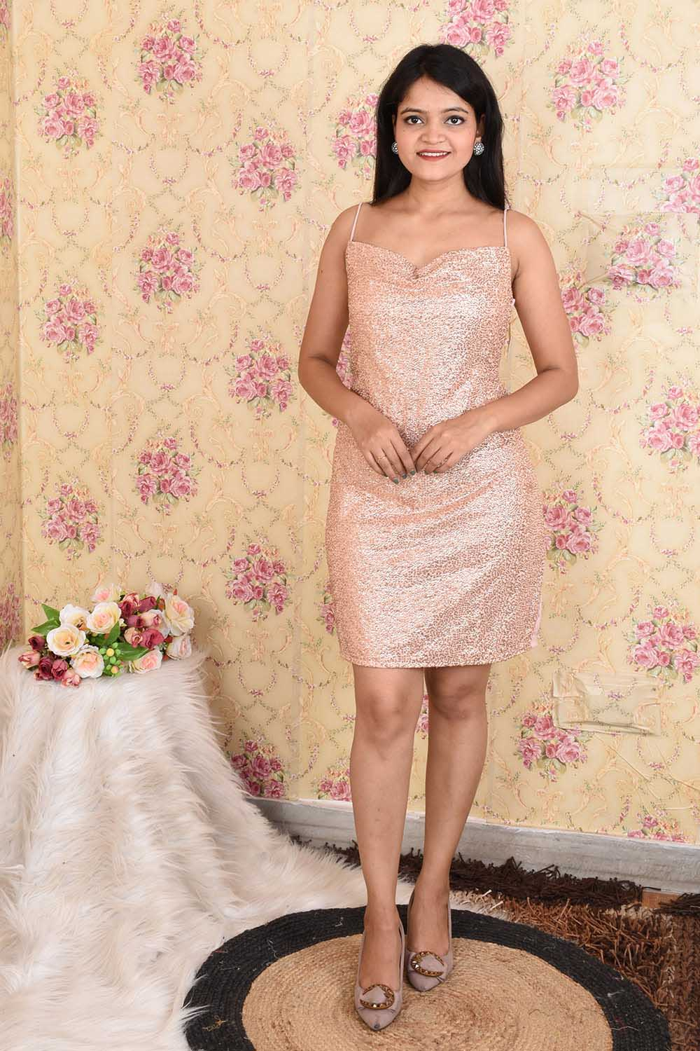 Rose Gold Sequins Party Wear Dress