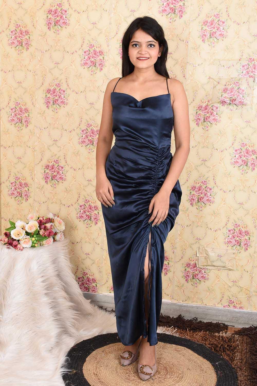 Navy Blue Satin Party wear dress