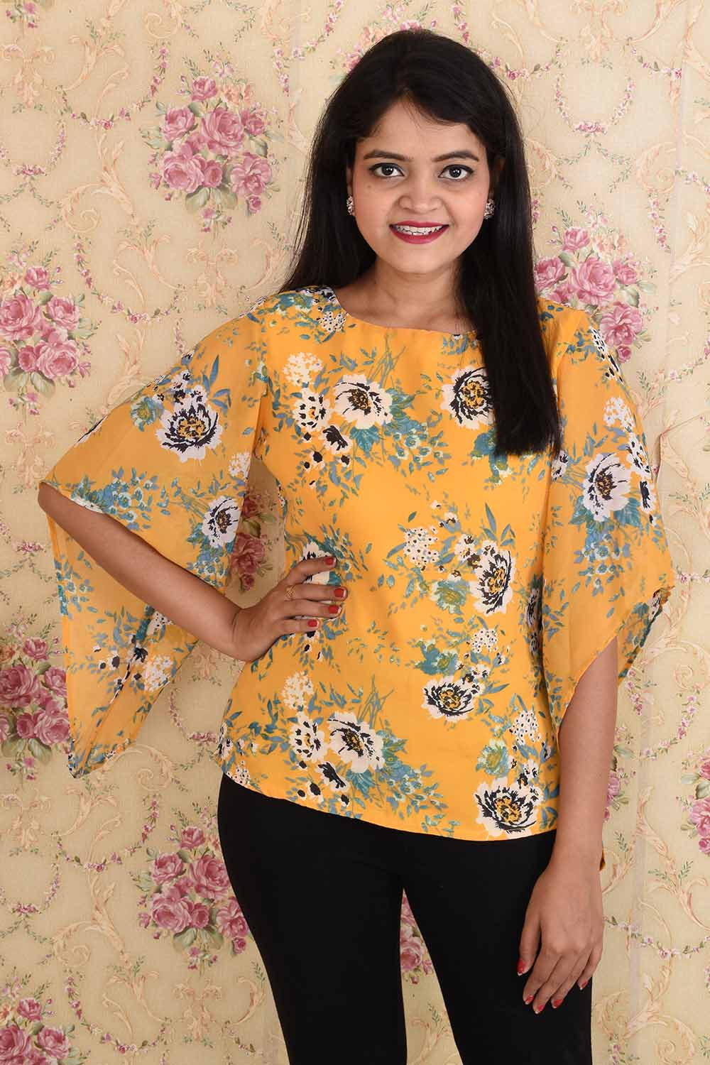 Yellow Georgette Printed Top