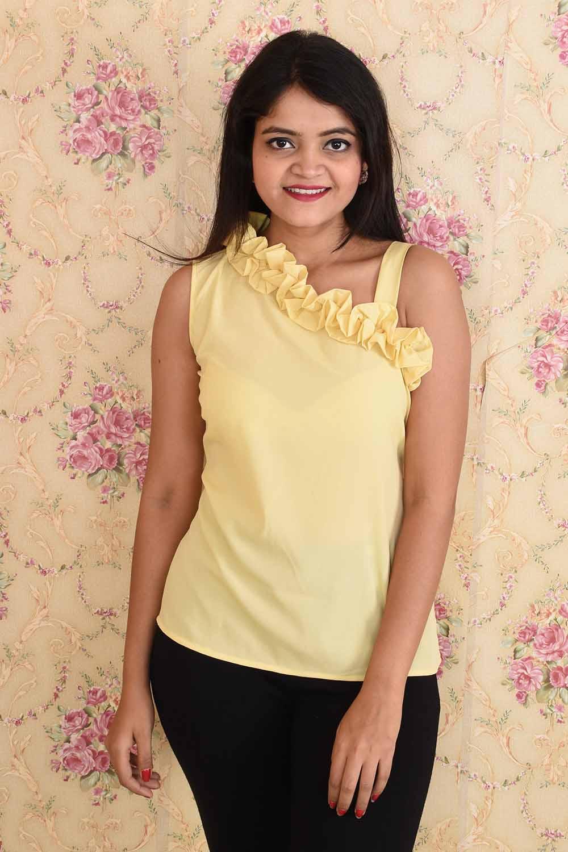 Yellow Designer Neck Top