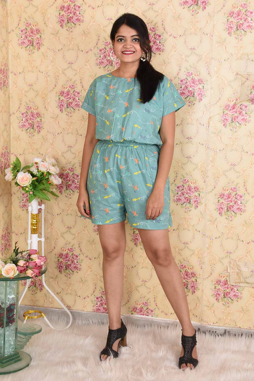 Cotton Printed Jumpsuit