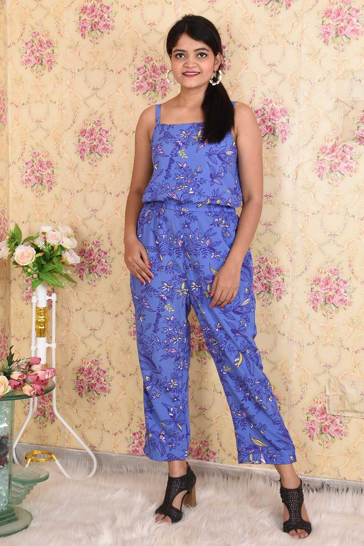 Printed Blue Crepe Jumpsuit
