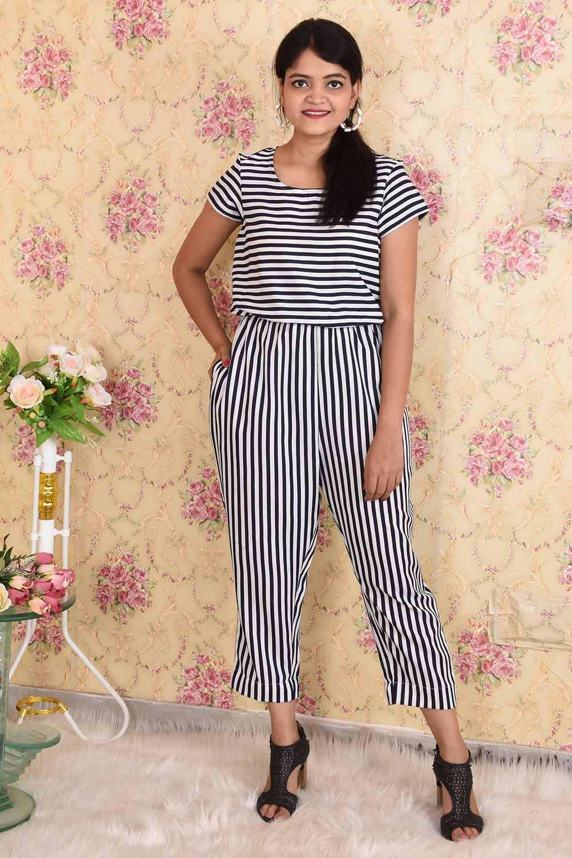 Striped Crepe Jumpsuit