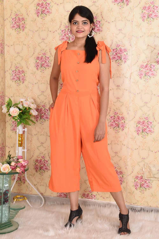 Solid Orange Crepe Jumpsuit