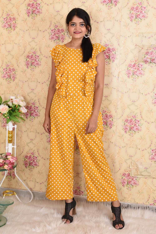 Yellow Polka Dots Crepe Jumpsuit