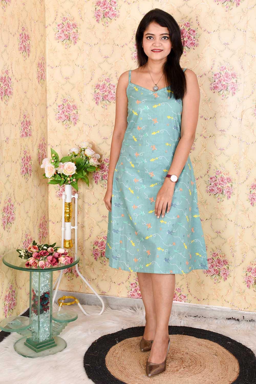 Green Printed Cotton Midi Dress
