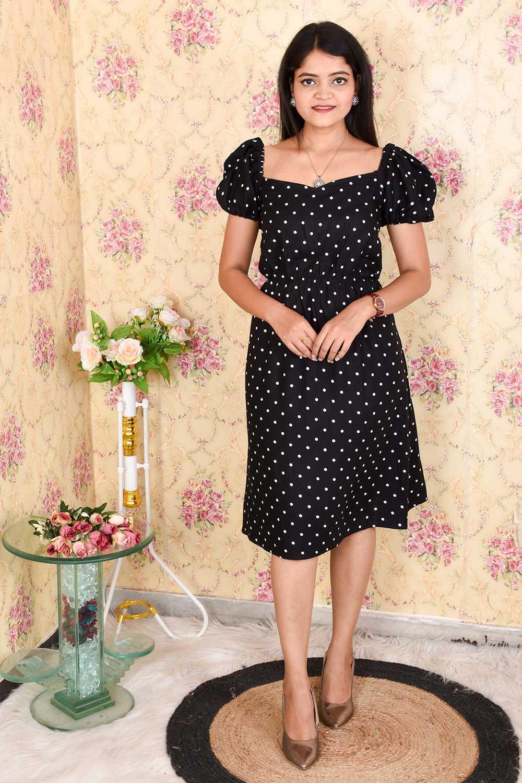 Black Polka Dots Cotton Midi Dress