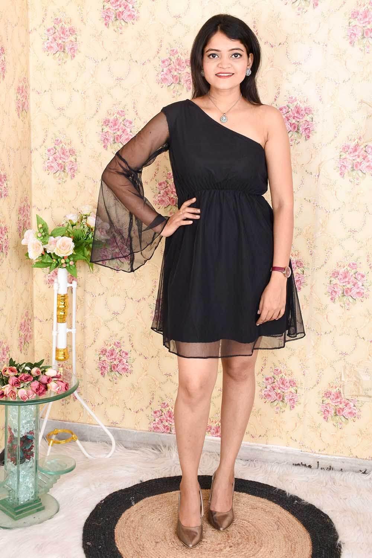 One Shoulder Black Net Dress