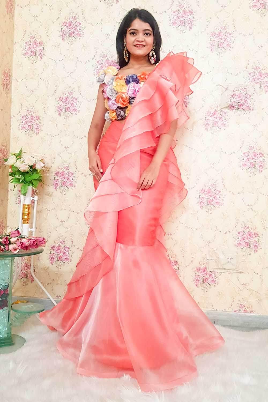 Peach Designer Draped Saree
