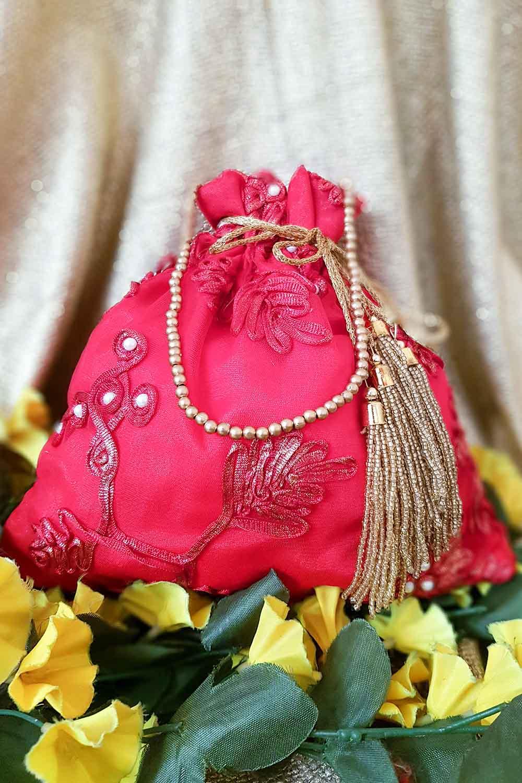 Peach-Golden Potli Bag