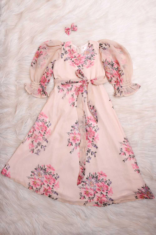 Peach Printed Baby Maxi Dress