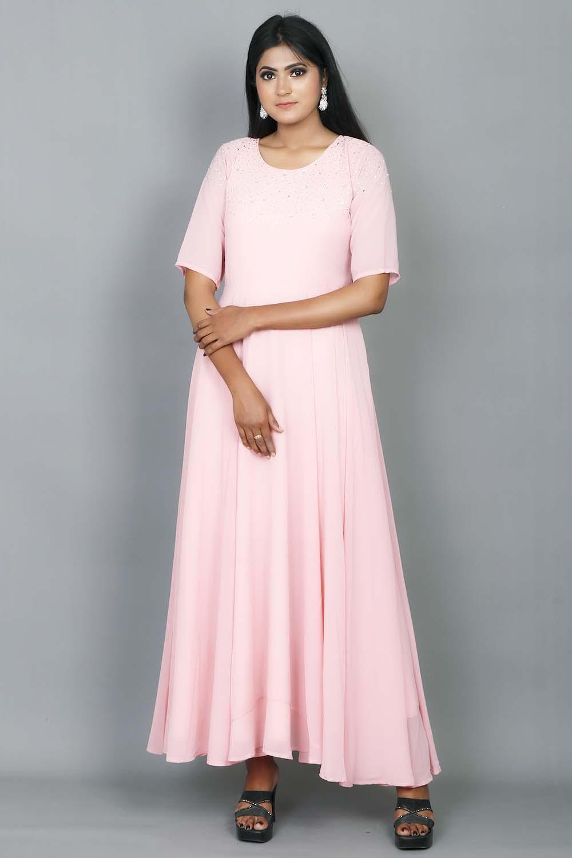 Peach Stone Work Gown
