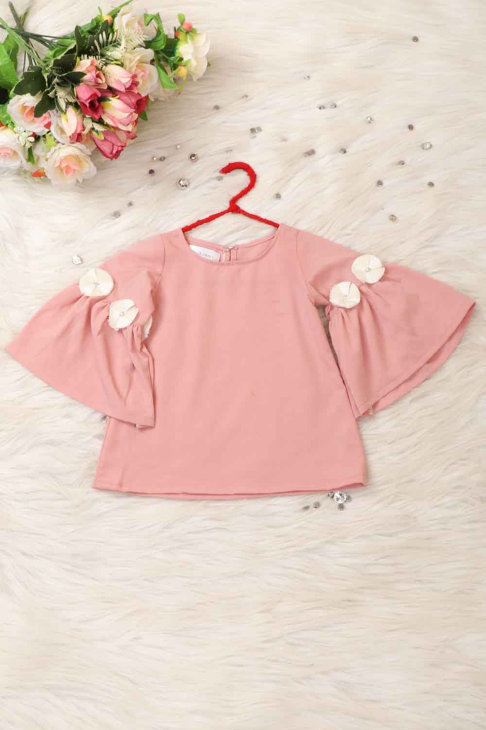 Peach Top with 3D Flower Detailing