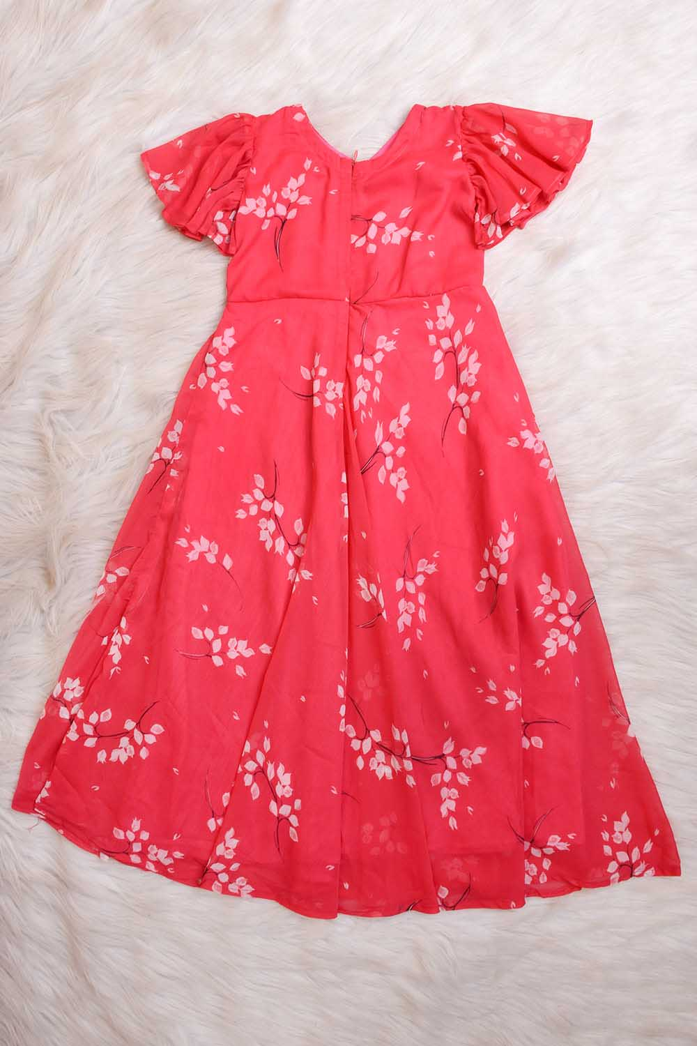 Pink Baby Maxi Dress with Flared Sleeves