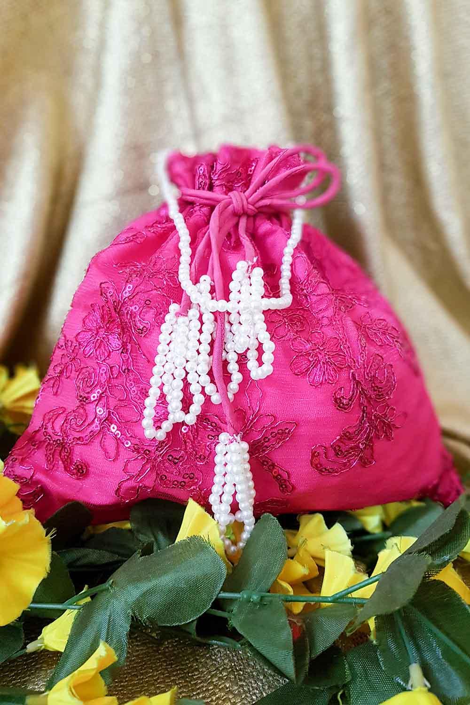 Pink Brocade Potli Bag