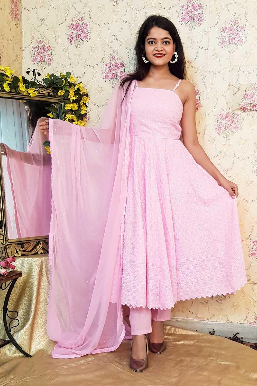 Pink Chikankari Anarkali Suit Set