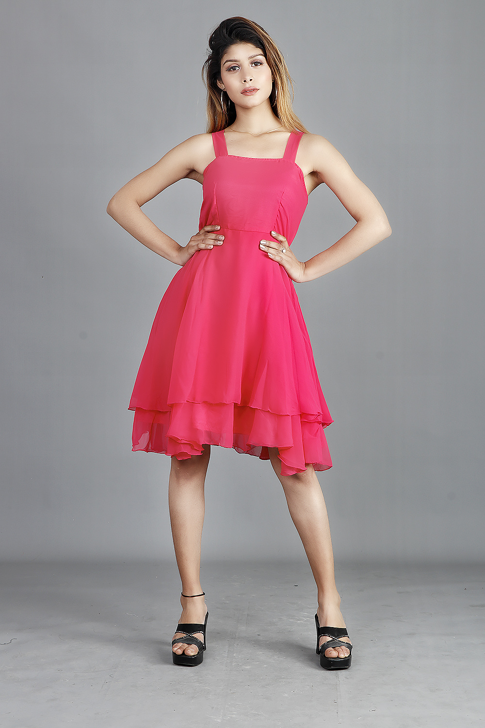 Pink Double Layer Skater Dress