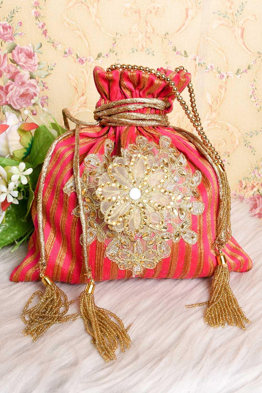 Pink-Golden Potli Bag