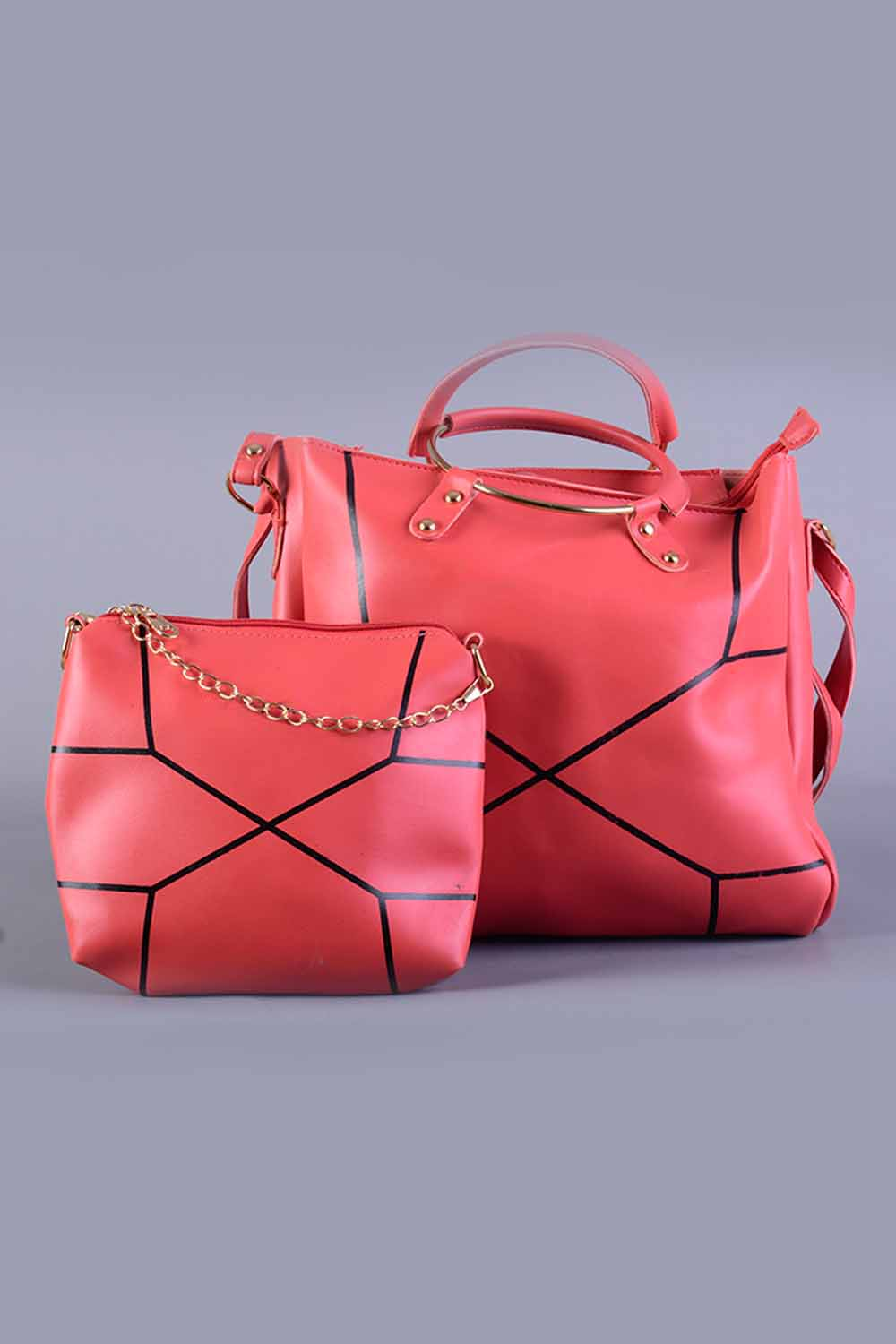 Pink Leather Material Pack of Two Handbags
