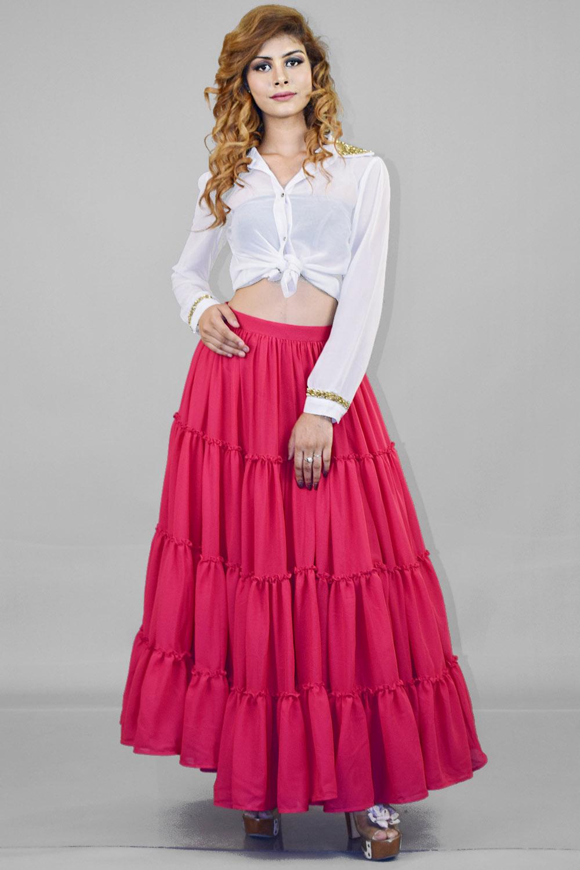 Pink Massive flared Skirt and Shirt