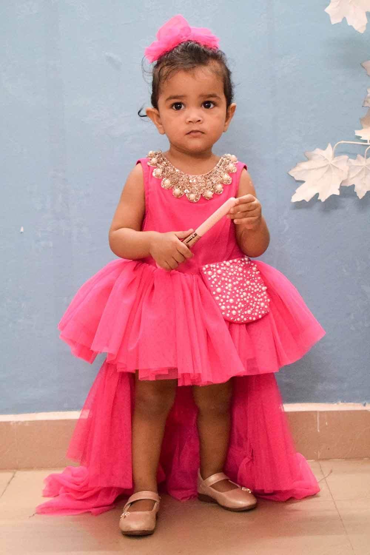 Pink Net High Low Princess Dress