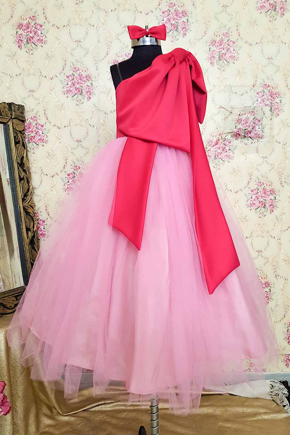 Pink Scuba and Net Gown