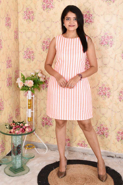 Pink Striped A - Line Crepe Dress
