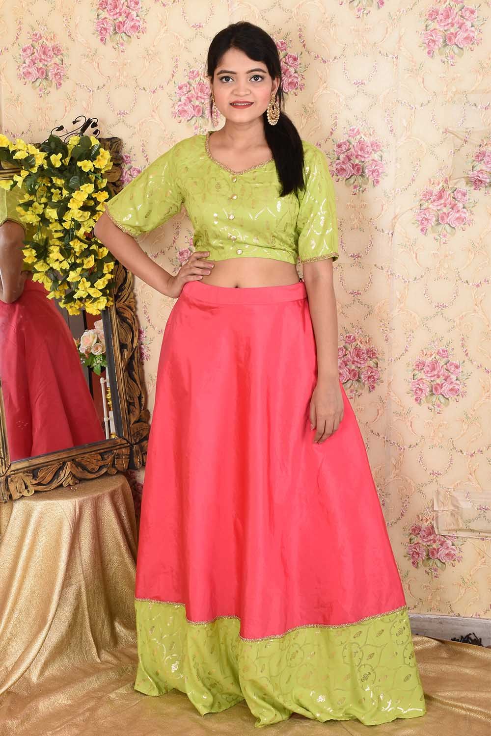 Pink and Green Skirt top set