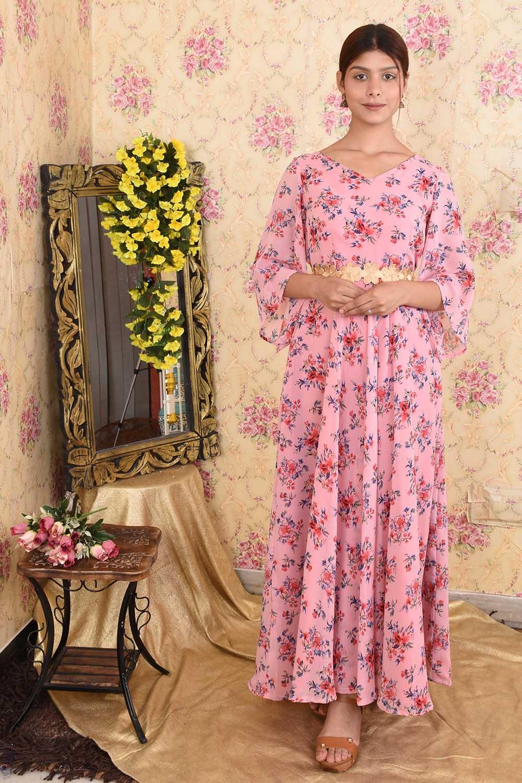 Pink printed georgette Anarkali