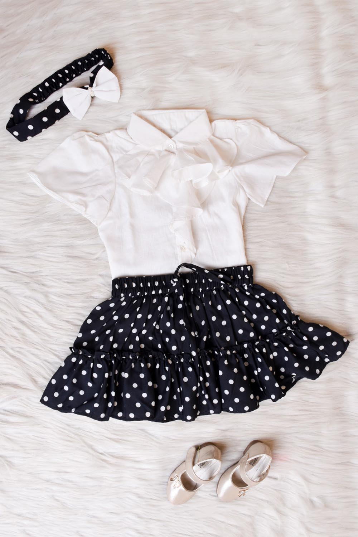 Polka Dot Ruffled Skirt Top Set