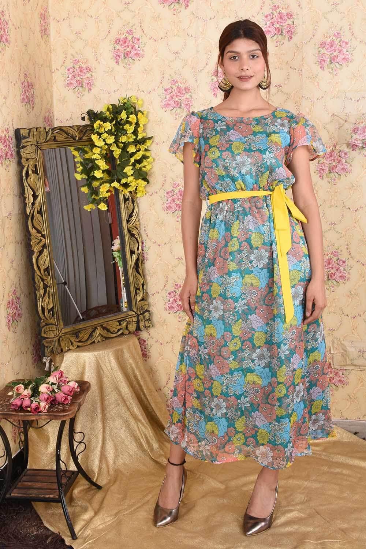Pretty Floral Printed Maxi Dress