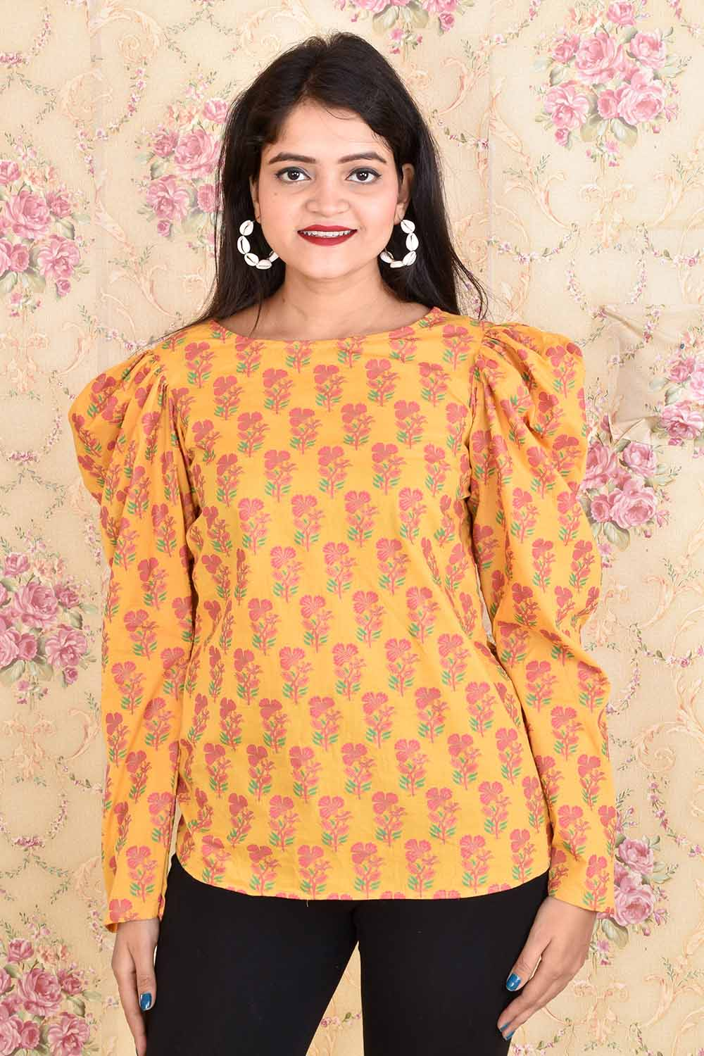 Printed Cotton Puff Sleeves Top