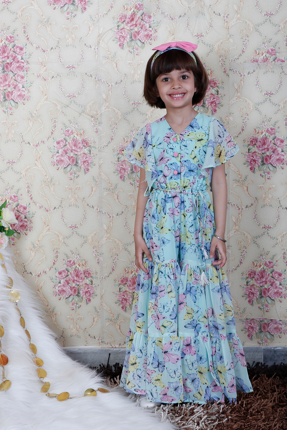 Printed Flared Jumpsuit with Matching Hairband