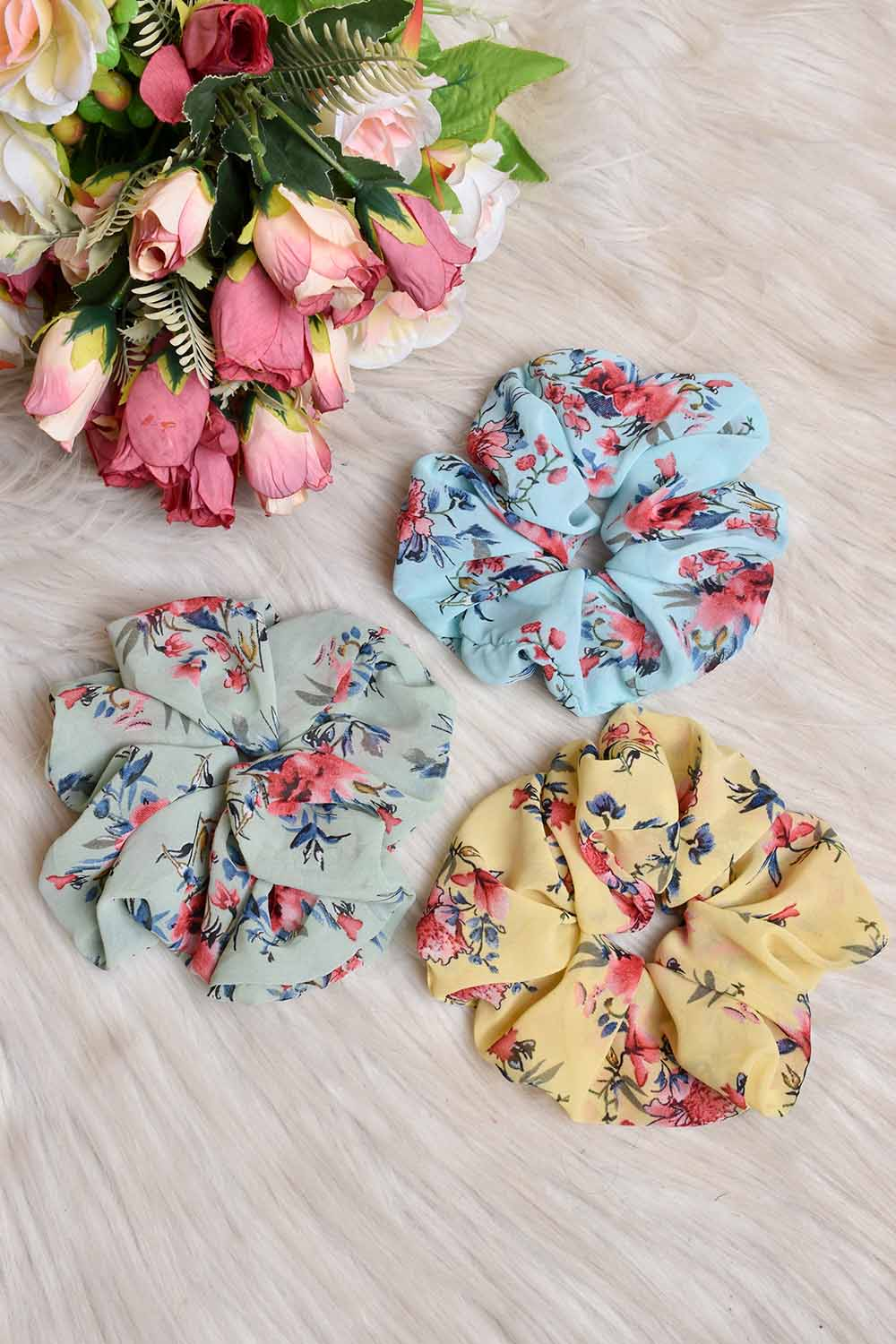 Printed Georgette  3 Scrunchies Combo