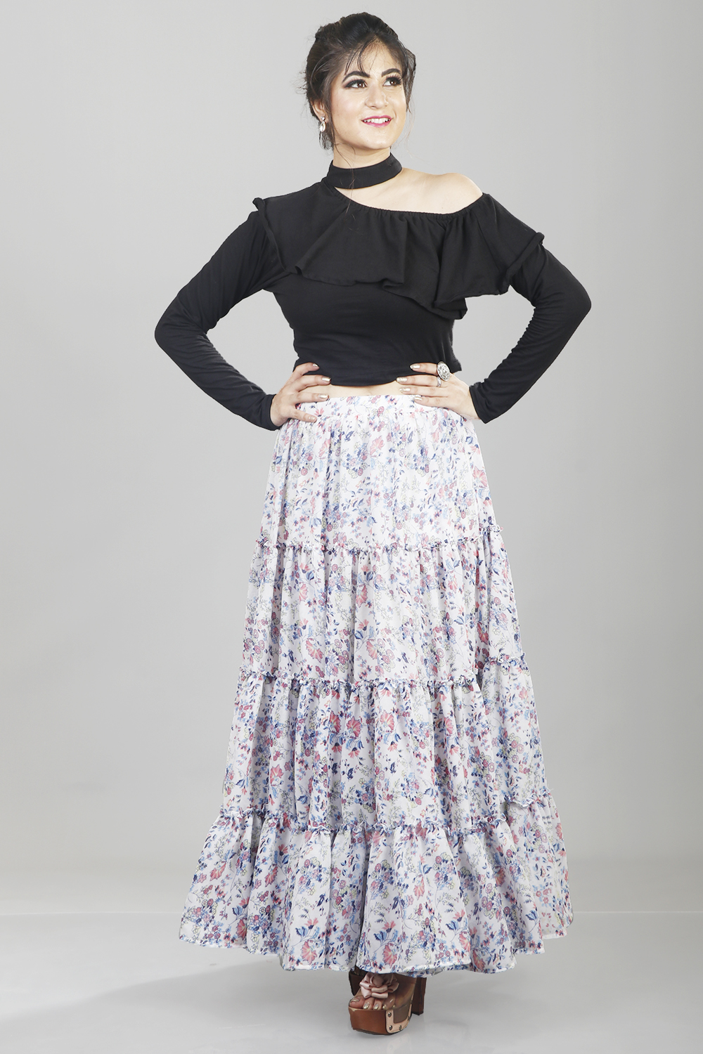 Printed Massive Flare Skirt With One Off-Shoulder Top