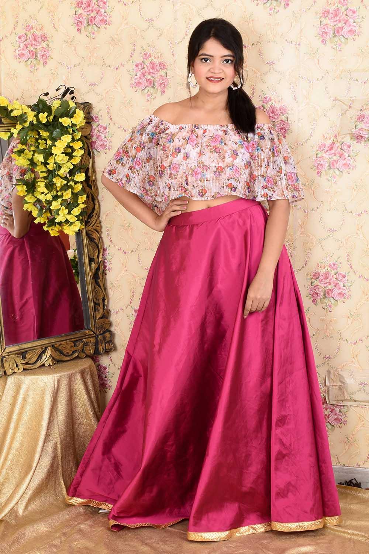 Printed Sequins off shoulder Top and Skirt Set