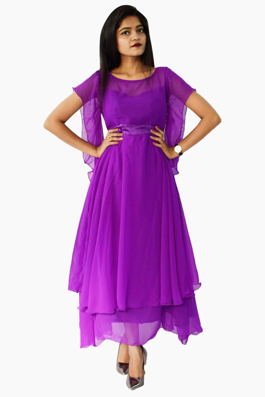 Purple Double Flared Maxi Dress