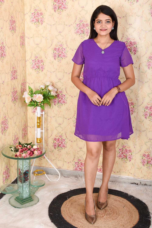 Purple Georgette Printed Dress