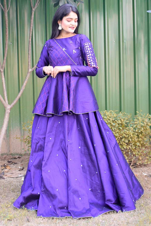 Purple Mirror work Top Skirt Set