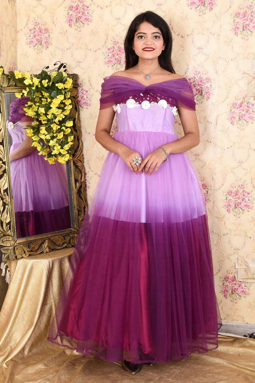Purple Ombre Off-Shoulder Organza Gown