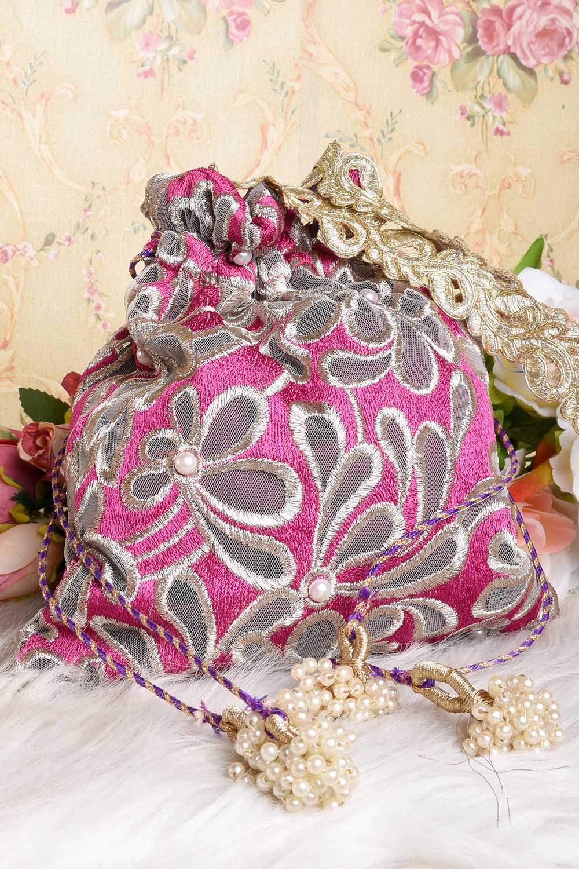 Purple-Silver Potli Bag