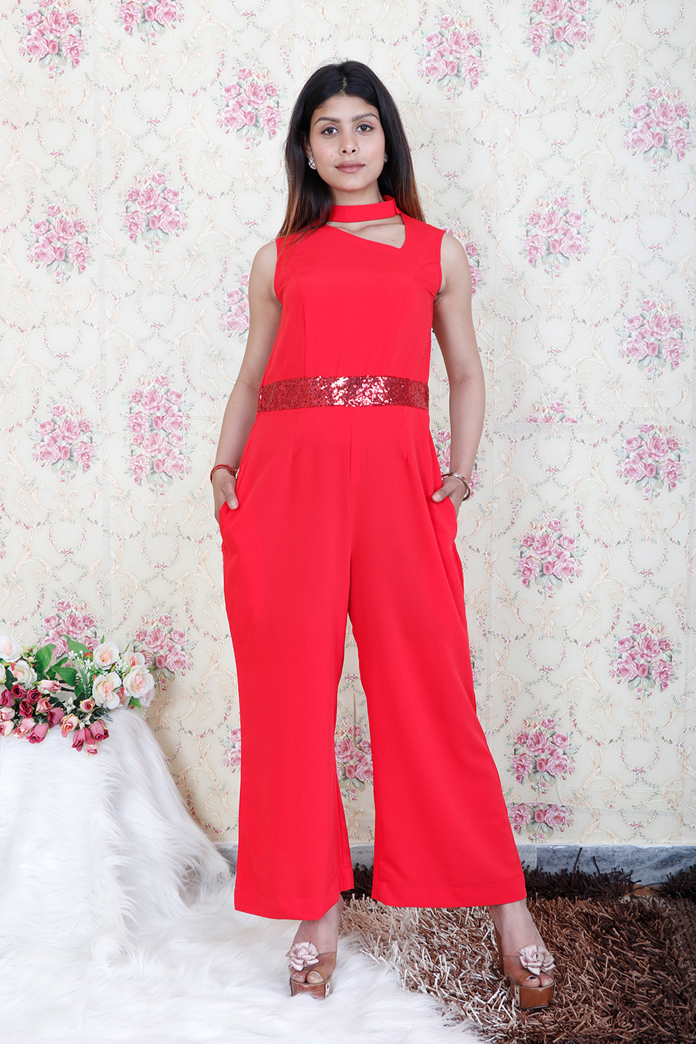 Solid Red Jump Suit
