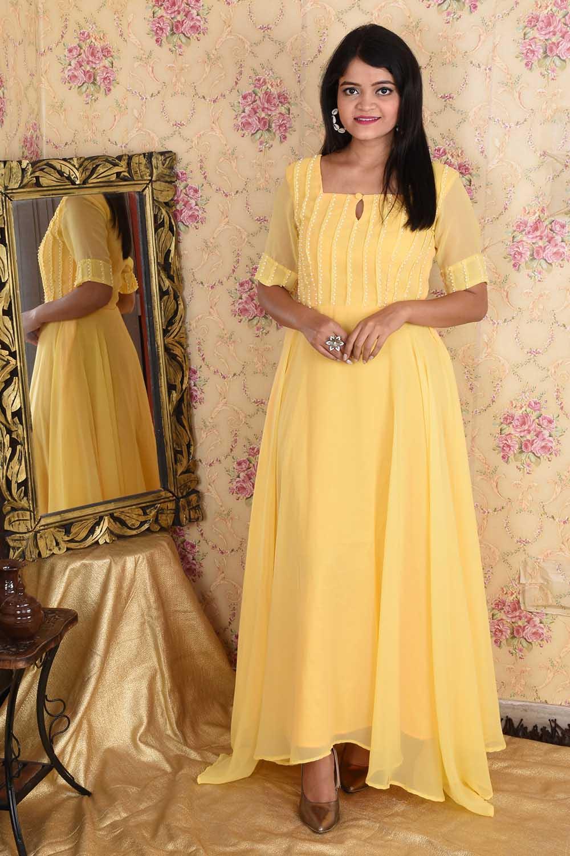 Light Yellow Asymmetric Anarkali
