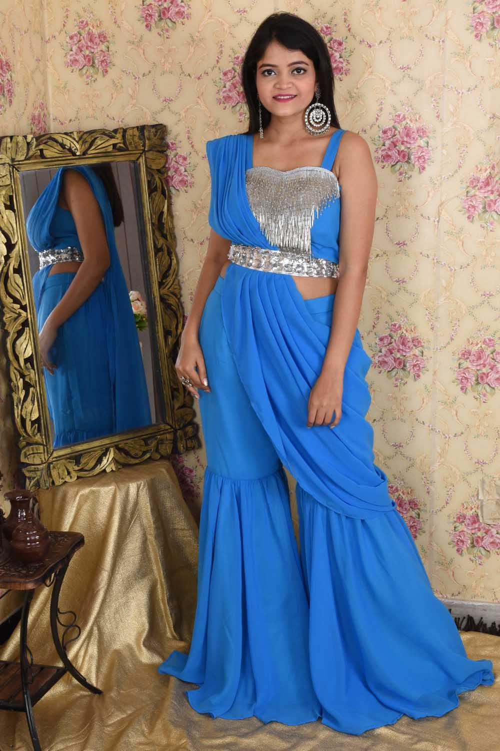 Blue Draped Saree with Silver Detailing
