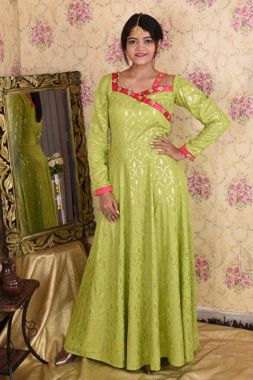 Parrot Green Designer Anarkali